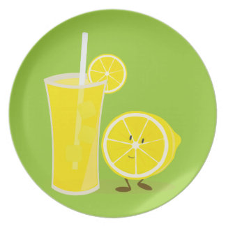 Lemon character standing next to lemonade dinner plates
