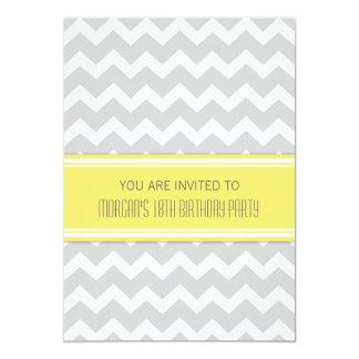 Lemon Chevron 18th Birthday Party Invitations