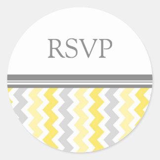 Lemon Chevron Wedding RSVP Envelope Seals Round Sticker