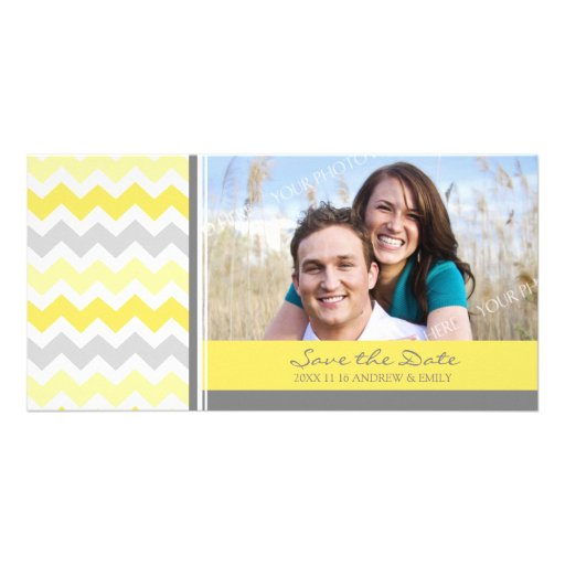 Lemon Chevrons Save the Date Wedding Photo Cards