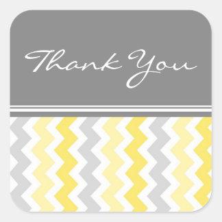 Lemon Chevrons Thank You Wedding Envelope Seals Square Sticker