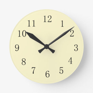 Lemon Chiffon Pastel Yellow Kitchen Wall Clock