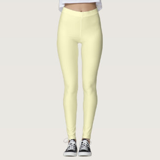 Lemon Chiffon Solid Color Customize It Leggings
