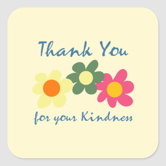 Lemon Chiffon Thank You Flower Sticker