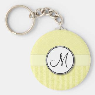 Lemon Cream Damask with Stripes and Monogram Basic Round Button Key Ring