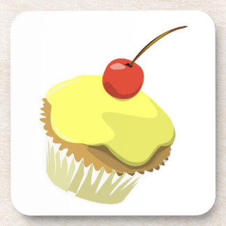 Lemon cupcake with cherry cork coaster