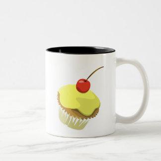 Lemon cupcake with cherry mug
