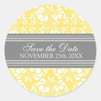Lemon Damask Save the Date Envelope Seal Round Sticker