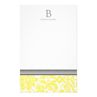 Lemon Damask Wedding Monogram Stationery