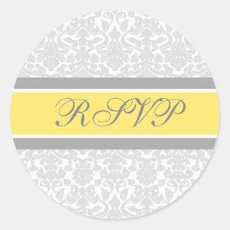 Lemon Damask Wedding RSVP Envelope Seals Round Sticker