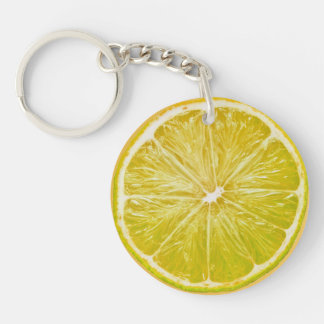 Lemon Double-Sided Round Acrylic Key Ring