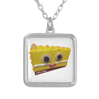 lemon drop cake face with logo silver plated necklace