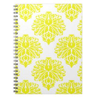 Lemon Elegant Damask Spiral Notebooks