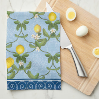 Lemon Espalier Leaf Blue French Country Floral Hand Towels