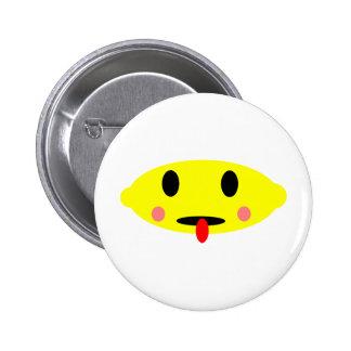 Lemon face 6 cm round badge