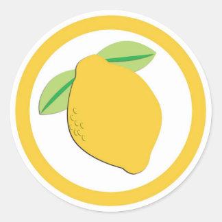 Lemon flavor circle sticker labels