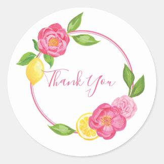 Lemon Floral Citrus Thank You Favor Tag Sticker