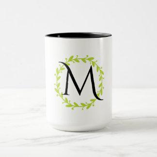 Lemon Floral Wreath Monogram Mug