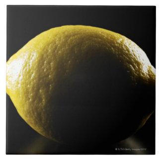 Lemon,Fruit,Black background Large Square Tile