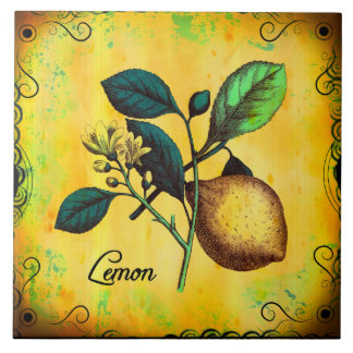 Lemon Fruit Flowers Leaves Vintage Botanical Large Square Tile