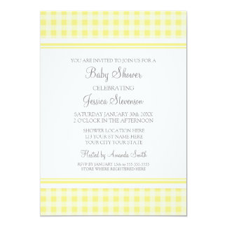Lemon Gingham Custom Baby Shower Invitations