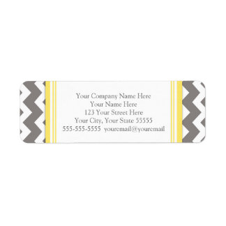 Lemon Gray Chevrons Business Contact Info Labels