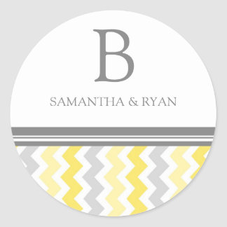 Lemon Gray Chevrons Monogram Envelope Seal Round Sticker