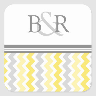 Lemon Gray Chevrons Monogram Envelope Seal Square Sticker