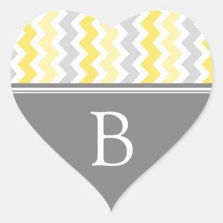 Lemon Gray Chevrons Monogram Envelope Seal Sticker
