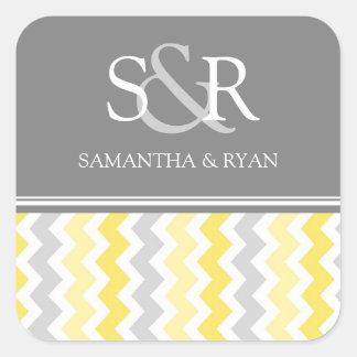 Lemon Gray Chevrons Monogram Envelope Seal Stickers
