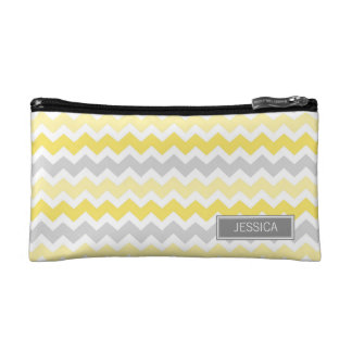 Lemon Gray Chevrons Pattern Custom Name Bag Makeup Bag
