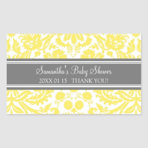 Lemon Gray Damask Baby Shower Favor Stickers