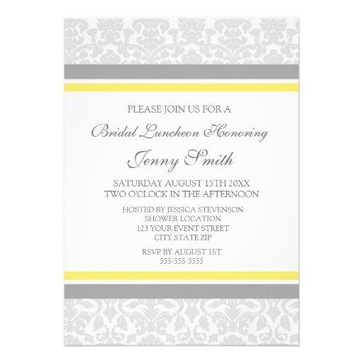 Lemon Gray Damask Bridal Lunch Invitation Cards