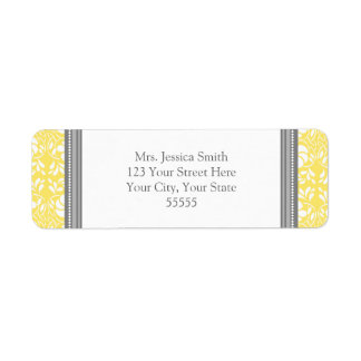 Lemon Gray Damask Custom Return Address Labels