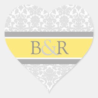 Lemon Gray Damask Monogram Envelope Seal Heart Sticker