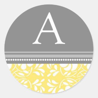 Lemon Gray Damask Monogram Envelope Seal Round Sticker