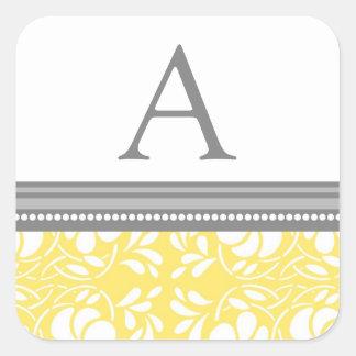 Lemon Gray Damask Monogram Envelope Seal Square Sticker