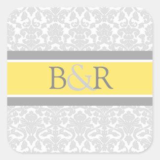 Lemon Gray Damask Monogram Envelope Seal Stickers