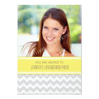 Lemon Gray Photo 18th Birthday Party Invitations