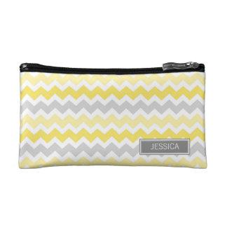 Lemon Grey Chevrons Pattern Custom Name Bag Makeup Bags