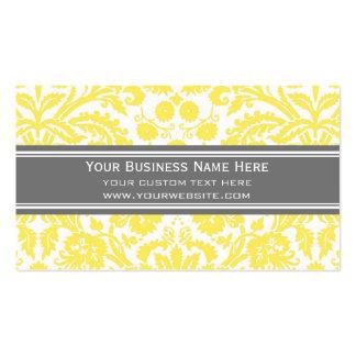 Lemon Grey Damask Floral Business Cards