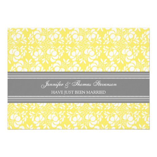 Lemon Grey Damask Just Married Announcement Cards