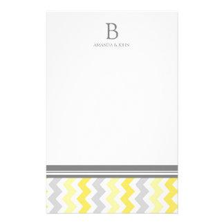 Lemon Grey White Wedding Monogram Stationery