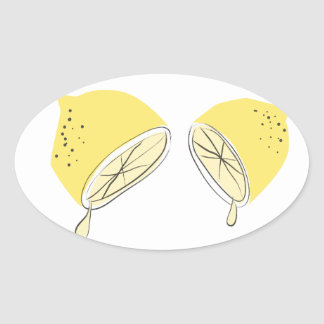 Lemon Halves Oval Stickers