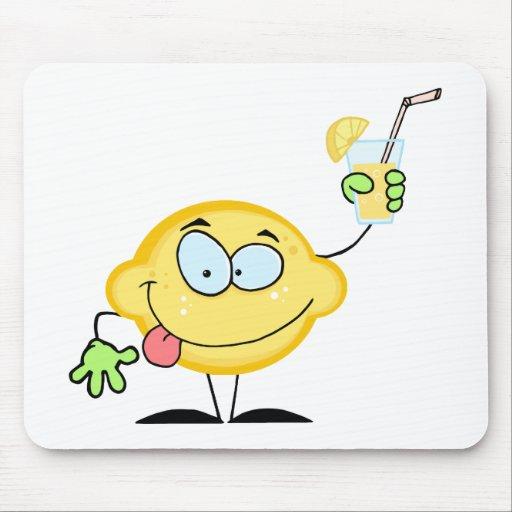 Lemon Holding A Glass With Lemonade Mousepad