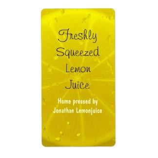 Lemon juice bottle label