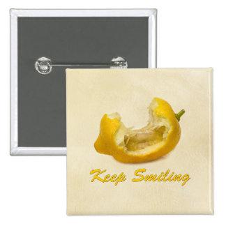 Lemon - Keep Smiling 15 Cm Square Badge