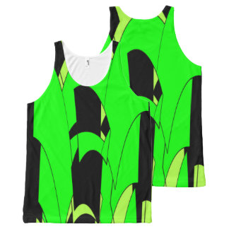 Lemon Lime Abstract Art All-Over Print Singlet
