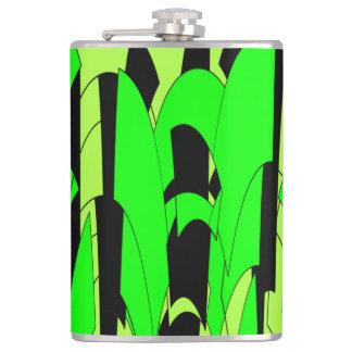 Lemon Lime Abstract Art Hip Flask