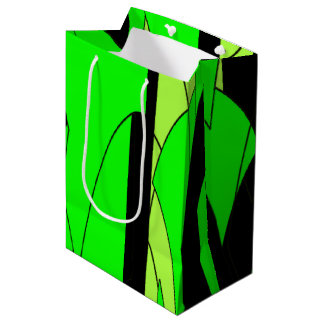Lemon Lime Abstract Art Medium Gift Bag